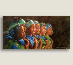 African Children's Choir 12x24 Canvas